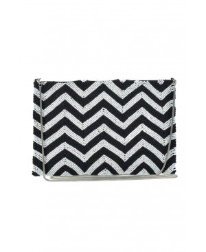 BORRO, Black and White ZigZag Handmade Purse