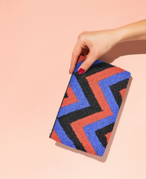 BORRO Chevron Red Blue Clutch